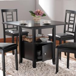 Drew Black Storage Dining Table with Shelf and Door