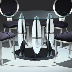 Abel Dining Table with Round 48' Clear Glass Top