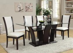 Malik Contemporary Casual Dining Table W/ Glass Top