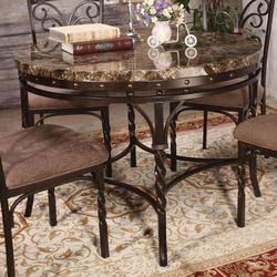 Burril Dining Table with Twisted Leg Detail and Faux Marble Top