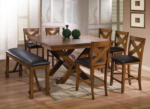 Apollo Counter Height Dining Set With Trestle Table And Mixed Seating