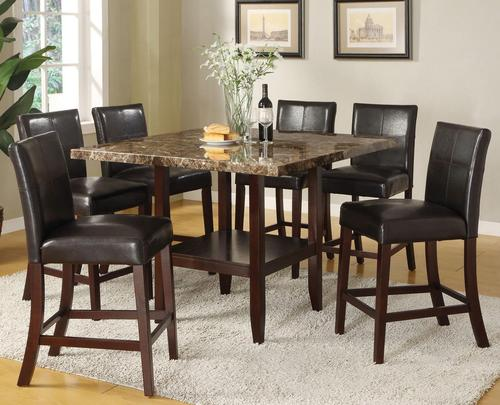Idris 7 Piece Counter Height Dining Set With Square Pedestal Table