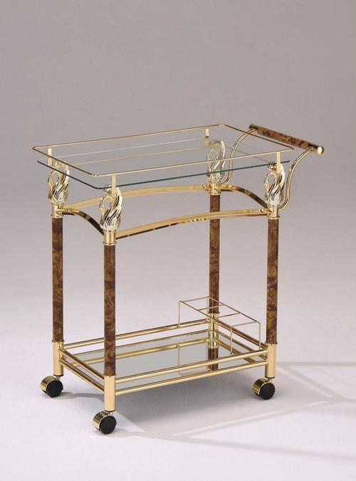 Acme furniture mace gold serving cart w clear glass - Dining room serving carts ...