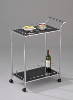 Mace Chrome Serving Cart W/Black Glass