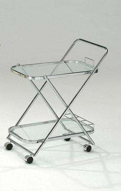 Mace Chrome Serving Cart W/Clear Glass