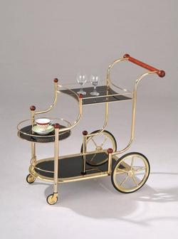 Mace Gold Serving Cart W/Black Glass