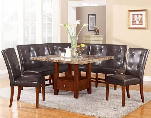 Acme furniture bologna six piece square dining set with for Modular dining table