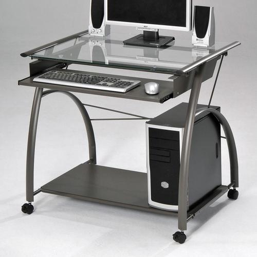 Silver Computer Desk Techni Mobili Wood Student Blue