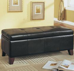 Teton Transitional Button-Tufted Storage Bench