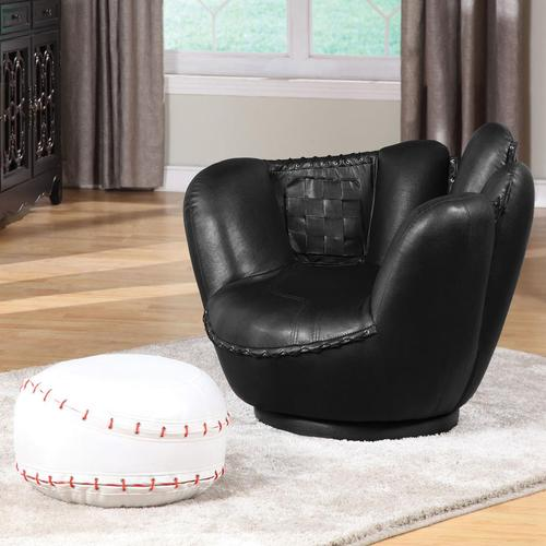 Acme Furniture All Star Sports Themed Baseball Black Glove Chair Ottoman