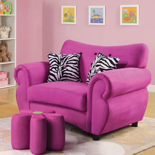 Acme Furniture Lucy Pink Youth Chair and Flower Ottoman