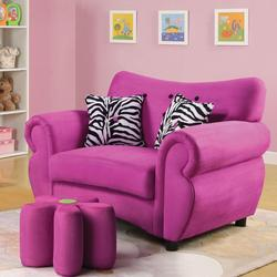 Lucy Pink Youth Chair and Flower Ottoman