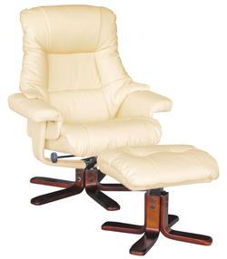Jama Cream Swivel Chair and Ottoman
