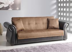 Kela Chocolate Mfb/Pu Adj. Sofa W/2Pillows