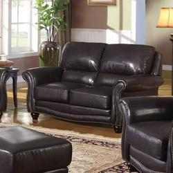Maloney Traditional Bonded Leather Loveseat
