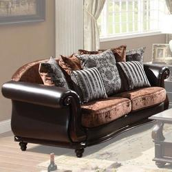 Del Rey Two-Tone Velvet & PU Upholstered Loveseat with Rolled Arms and Serpentine Front Rail