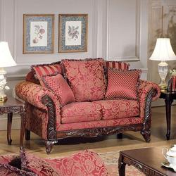 Fairfax Magenta Traditional Exposed Wood Loveseat