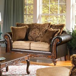 Fairfax Splurge Traditional Exposed Wood Loveseat