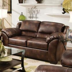 Dax Bonded Leather Loveseat with Pillow Top Backrest