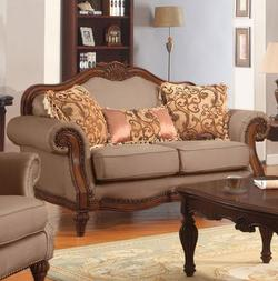 Archaise Wood Trimmed Loveseat with 3 Pillows