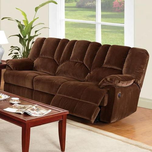 Acme furniture obert brown corduroy sofa with power recline for Brown corduroy couch