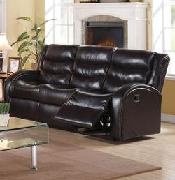 Noah Reclining Sofa with Rounded Track Arms and Plush Back