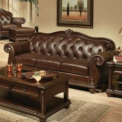 Anondale Traditional Cherry Top Grain Leather Stationary Sofa