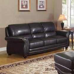 Maloney Traditional Bonded Leather Stationary Sofa
