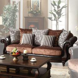 Del Rey Two-Tone Velvet & PU Upholstered Sofa with Rolled Arms and Serpentine Front Rail