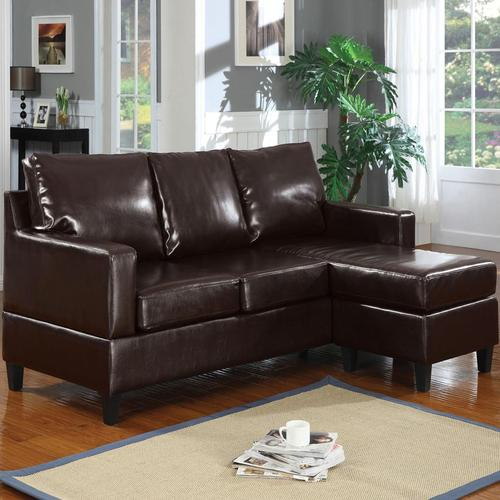 Acme furniture vogue espresso bonded leather chaise sectional for Bonded leather sectional with chaise