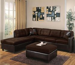 Milano Chocolate Contemporary Two Piece Sectional Sofa with RAF Chaise