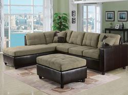 Lisbon Contemporary Two Piece Sectional Sofa w/ RAF Chaise in Pebble Fabric