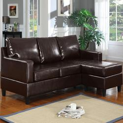 Vogue Espresso Bonded Leather Chaise Sectional