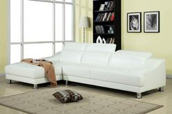 Ohn White Bonded Leather Sectional with Adjustable Headrests