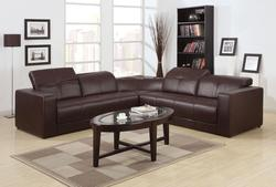Odell Dark Brown Sectional Sofa with iPod Dock and Speakers