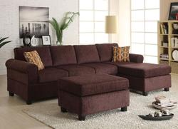 Yigal Contemporary Chaise Sectional and Storage Ottoman