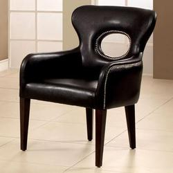 Odo Contemporary Chair with Nailhead Trim and Tapered Legs