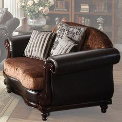Del Rey Two-Tone Velvet & PU Upholstered Chair with Rolled Arms and Serpentine Front Rail
