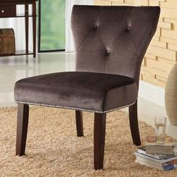 Hewitt Brown Suede Accent Chair with Nail Head Trim
