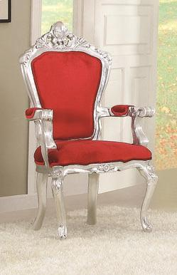Salim Neoclassical Red & Silver Accent Chair