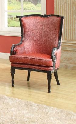 pawnee neo classical upholstered red accent chair