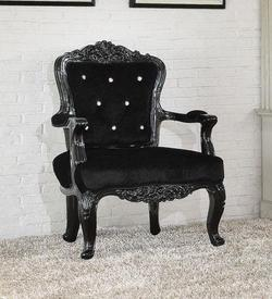 Pascal Accent Chair with Crystal Button Back