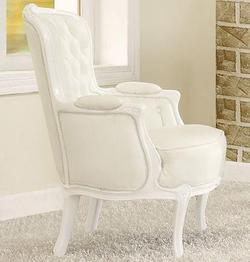 Cain White Accent Chair w/ Pillow Arms