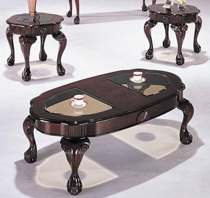 Acme Furniture Canebury Cherry Piece Cocktail And End Table Set - Cocktail end table sets