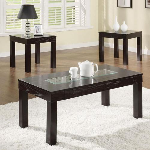 acme furniture denhem 3 piece coffee table and end table set with