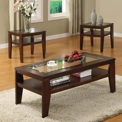 Brian 3-Piece Coffee Table and End Table Set with Glass Tops - Acme Furniture Brian 3-Piece Coffee Table And End Table Set With