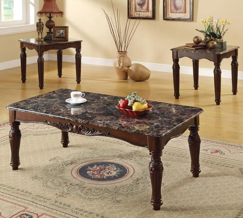 Acme Furniture Bart 3 Piece Coffee And End Table Set With Faux Marble Tops