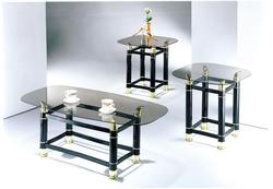 Greenfield Three Piece Occasional Table Set with Clear Glass