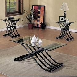 2708 X-Shaped Fold Out Wave Base 3 Piece Coffee/End Table Set