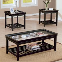 6362 Ava 3 Piece Coffee and End Table Set with Glass Tops